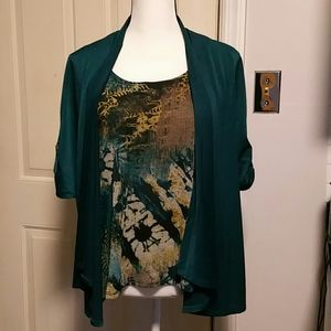 Notations attached tank and cardigan L